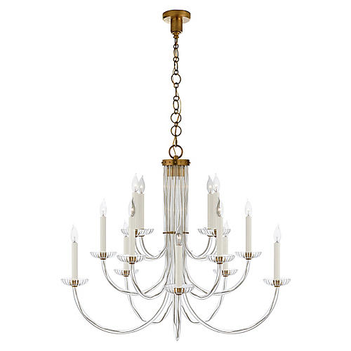 Wharton Chandelier, Antiqued Brass/Clear