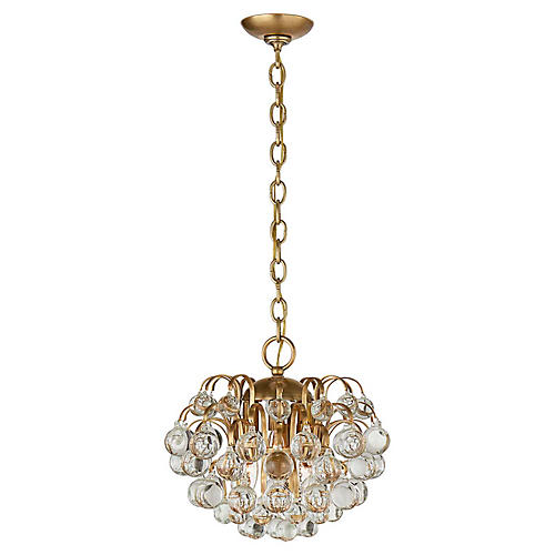 Bellvale Small Chandelier, Antiqued Brass