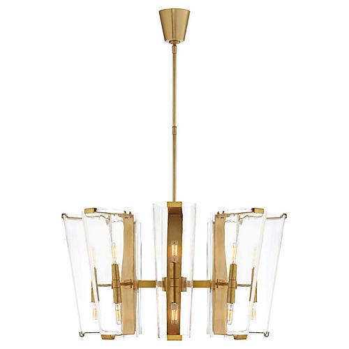Alpine Medium Chandelier, Antiqued Brass/Clear