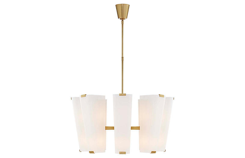 Alpine Medium Chandelier, Antiqued Brass/White