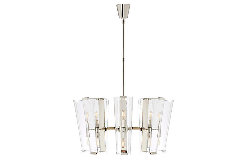 Alpine Medium Chandelier, Polished Nickel/Clear