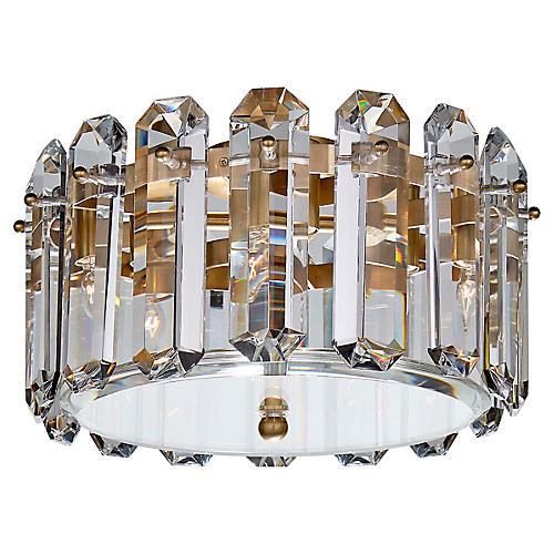 Bonnington Medium Flush Mount, Brass/Crystal