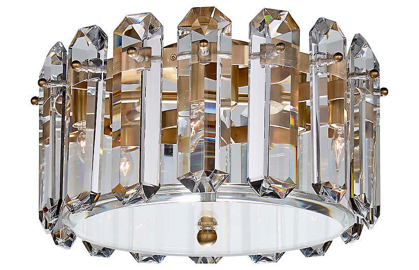 Bonnington Medium Flush Mount, Brass/Crystal