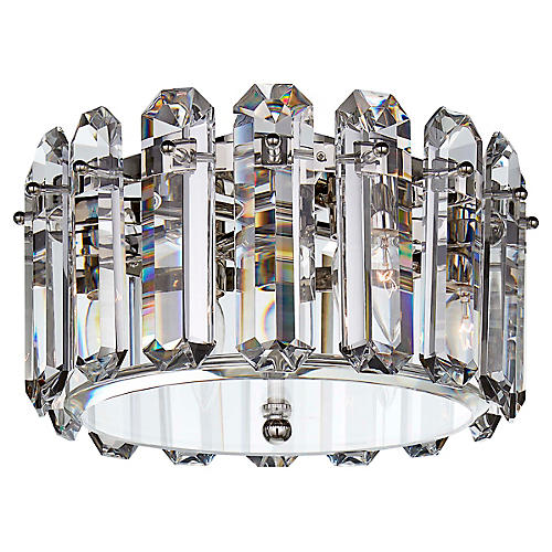 Bonnington Medium Flush Mount, Nickel/Crystal
