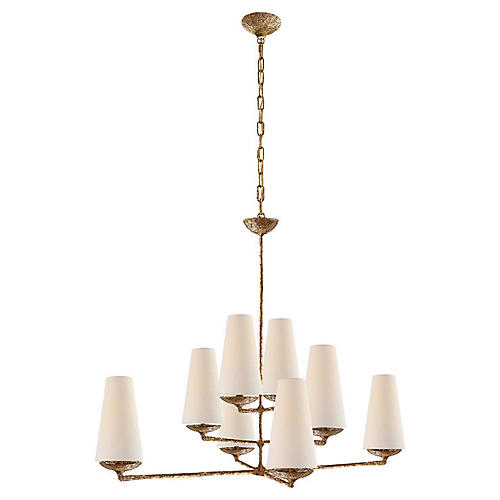 Fontaine Large Offset Chandelier, Gild