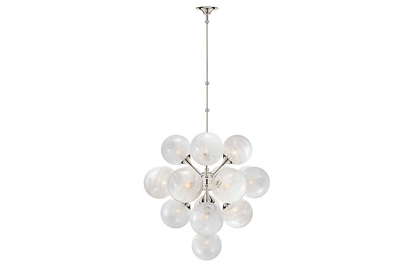 Cristol Large Tiered Chandelier, Nickel/White