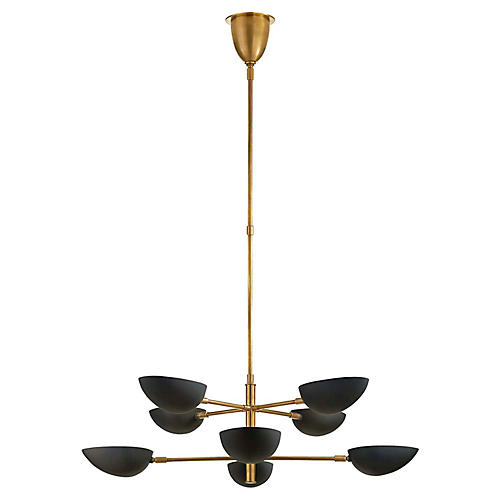 Graphic Large Two-Tier Chandelier, Brass/Black