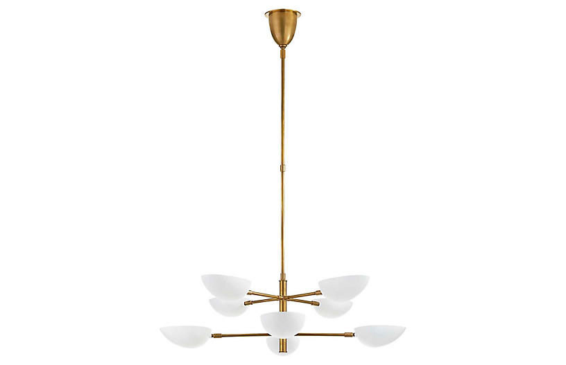 Graphic Large Two-Tier Chandelier, Brass/White