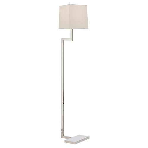 Alander Floor Lamp, Polished Nickel
