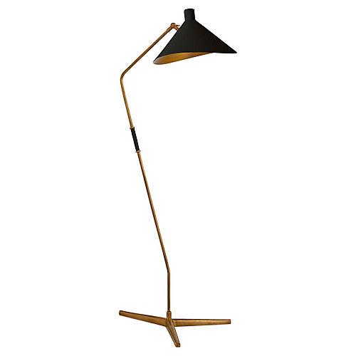 Mayotte Large Offset Floor Lamp, Brass/Black