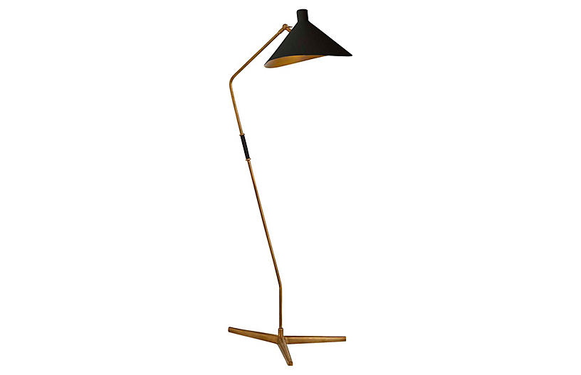 Mayotte Large Offset Floor Lamp, Brass/Black