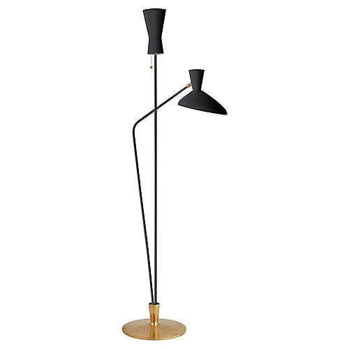 Austen Large Dual-Function Floor Lamp, Black/Brass