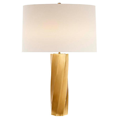 Leitha Large Table Lamp, Antiqued Brass