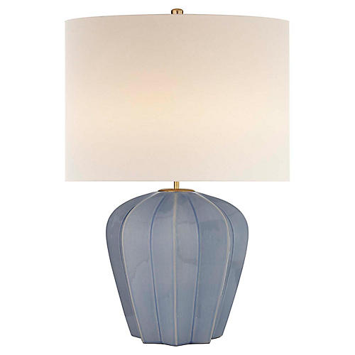 Pierrepont Medium Table Lamp, Polar Blue Crackle