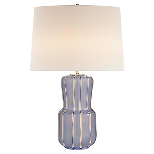 Aumar Large Table Lamp, Polar Blue Crackle