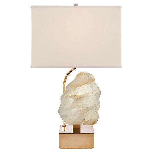 Trieste Small Table Lamp, Antiqued Brass/Quartz