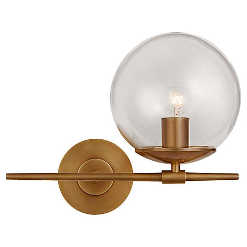 Turenne Small Sconce, Antiqued Brass