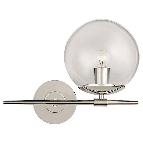Turenne Small Sconce, Polished Nickel