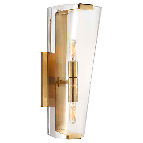 Alpine Single Sconce, Brass/Clear