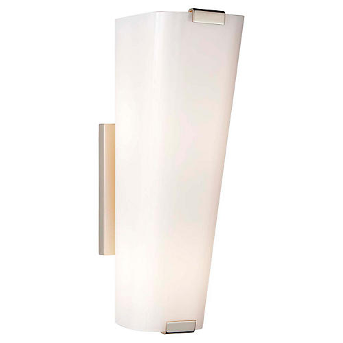 Alpine Single Sconce, Nickel/White