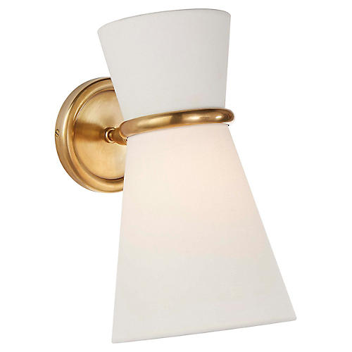 Clarkson Small Pivoting Sconce, Antiqued Brass