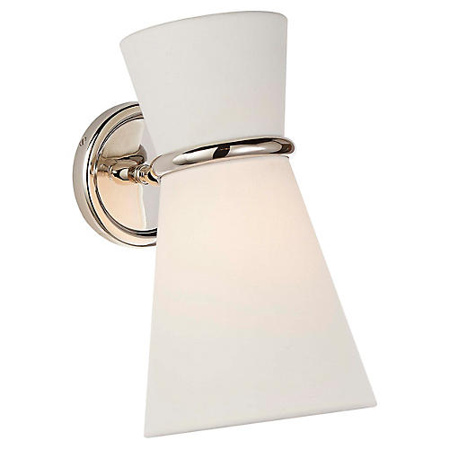 Clarkson Small Pivoting Sconce, Polished Nickel