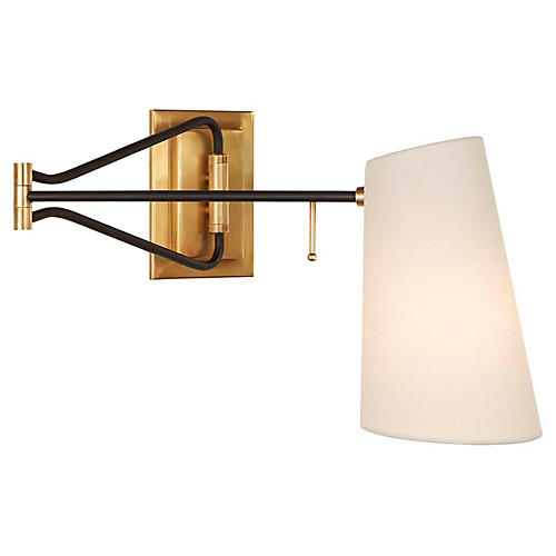 Keil Swing-Arm Sconce, Antiqued Brass/Black
