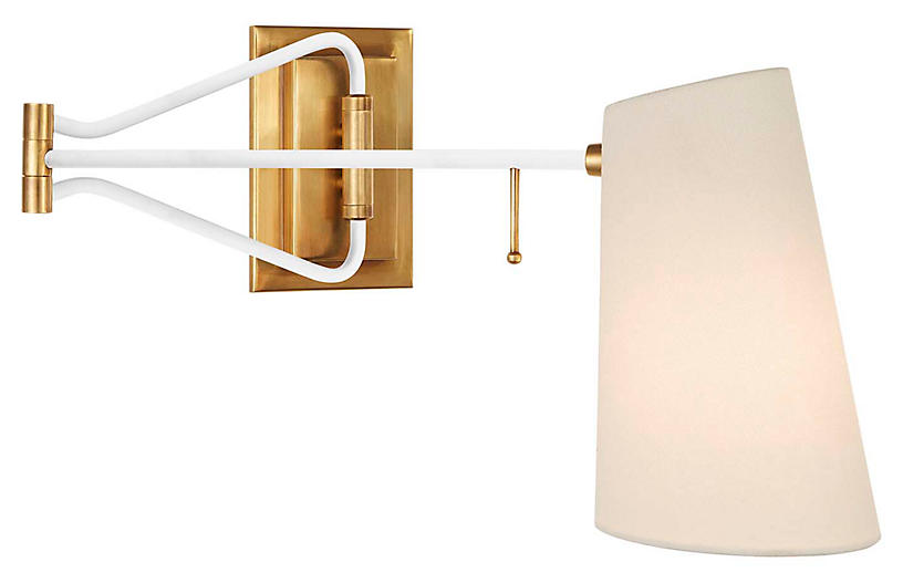 Keil Swing-Arm Sconce, Antiqued Brass/White