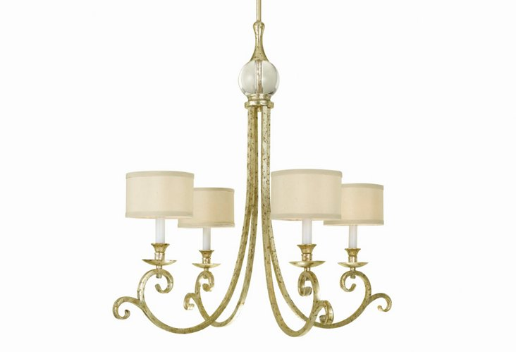 Lucy 4-Light Chandelier, Soft Gold