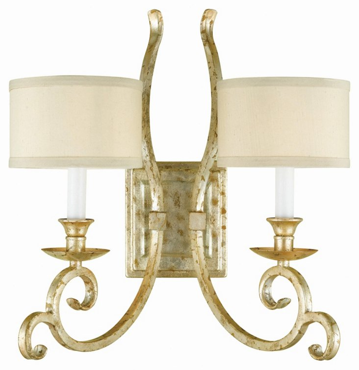 Lucy 2-Light Sconce, Soft Gold