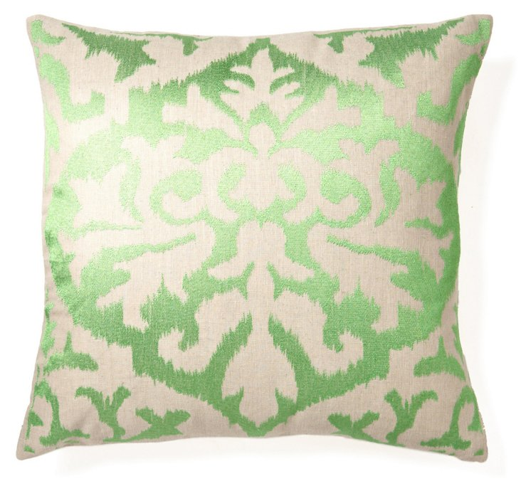 Ikat 20x20 Embroidered Pillow, Green