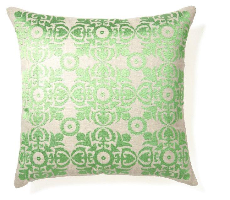 Motif 20x20 Embroidered Pillow, Green