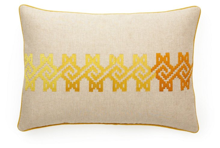 Maze 14x20 Cotton Pillow, Yellow