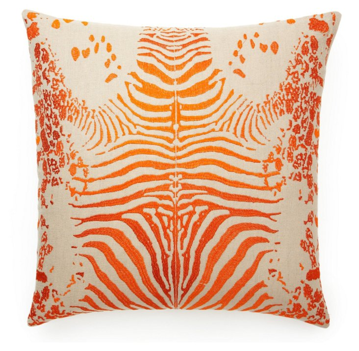 Tiger 20x20 Embroidered Pillow, Orange