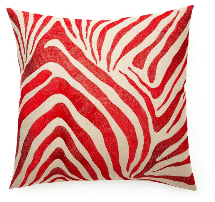 Zebra 22x22 Embroidered Pillow, Red