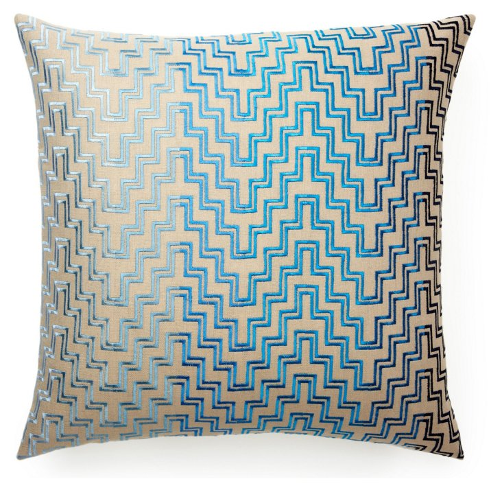 Steps 22x22 Cotton-Blend Pillow, Blue