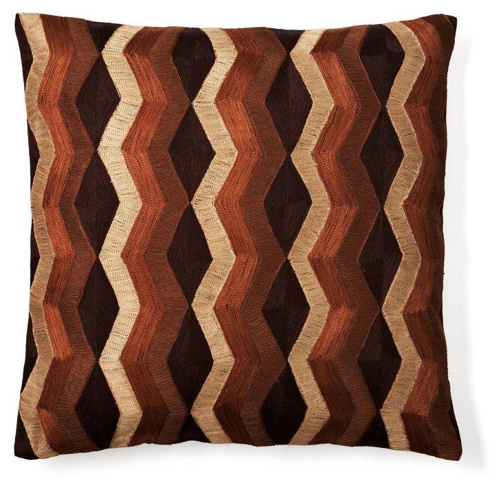 Rhythm Stripe 20x20 Pillow, Brown