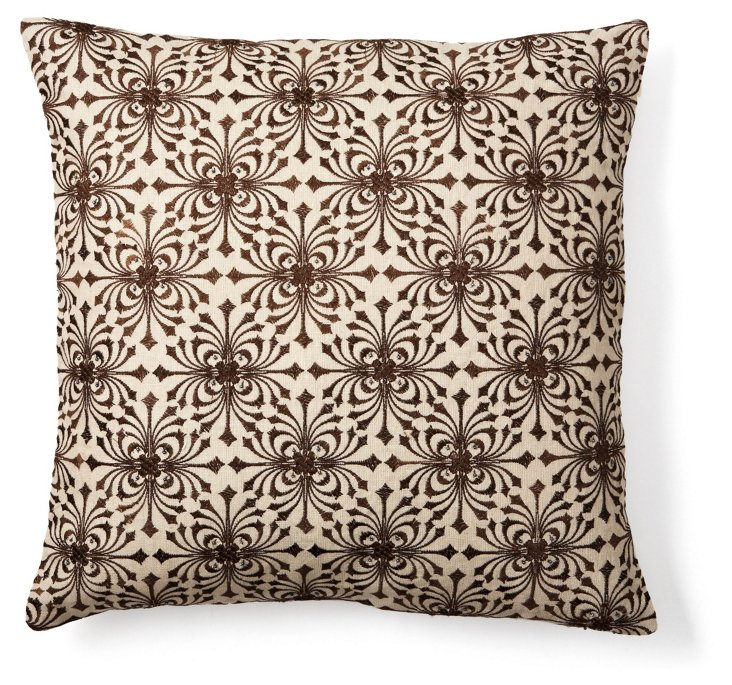 All Over Embellish 20x20 Pillow, Brown
