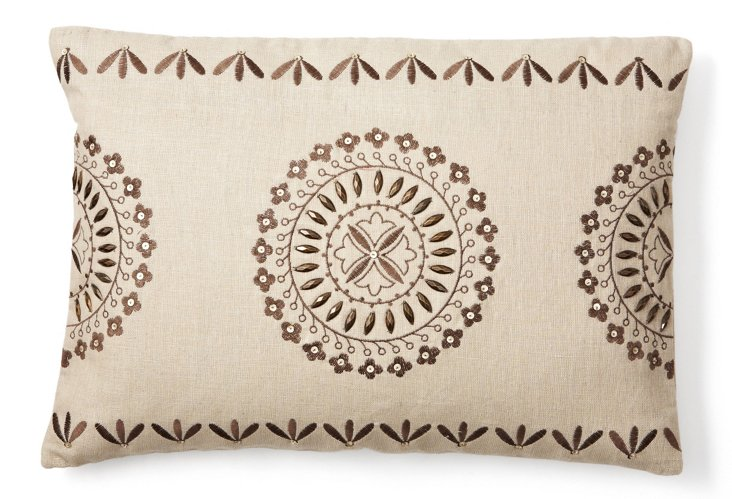Exotic 14x20 Embroidered Pillow, Natural