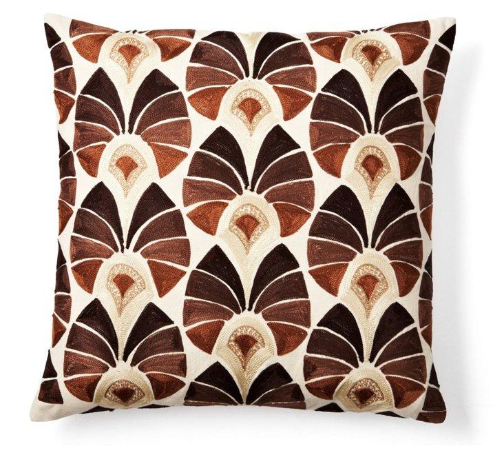 Rhythm Peacock 20x20 Pillow, Natural