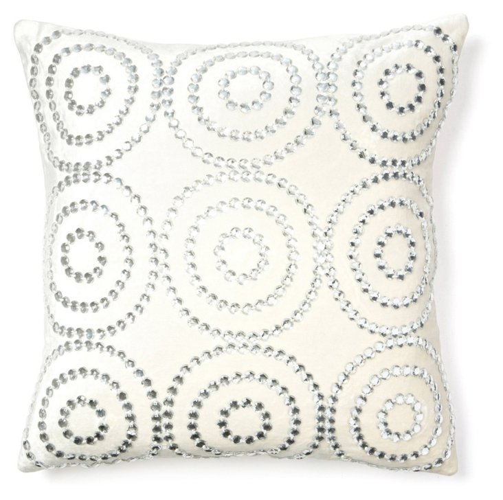 Jeweled Circles 20x20 Pillow, Ivory