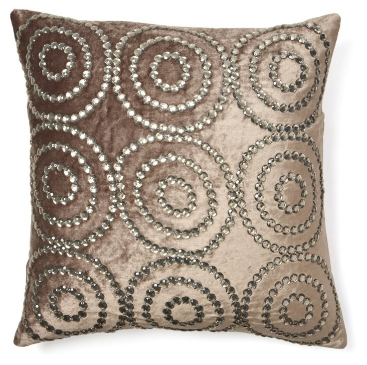 Jeweled Circles 20x20 Pillow, Gray
