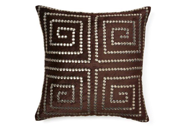 Greek Key 20x20 Pillow, Chocolate