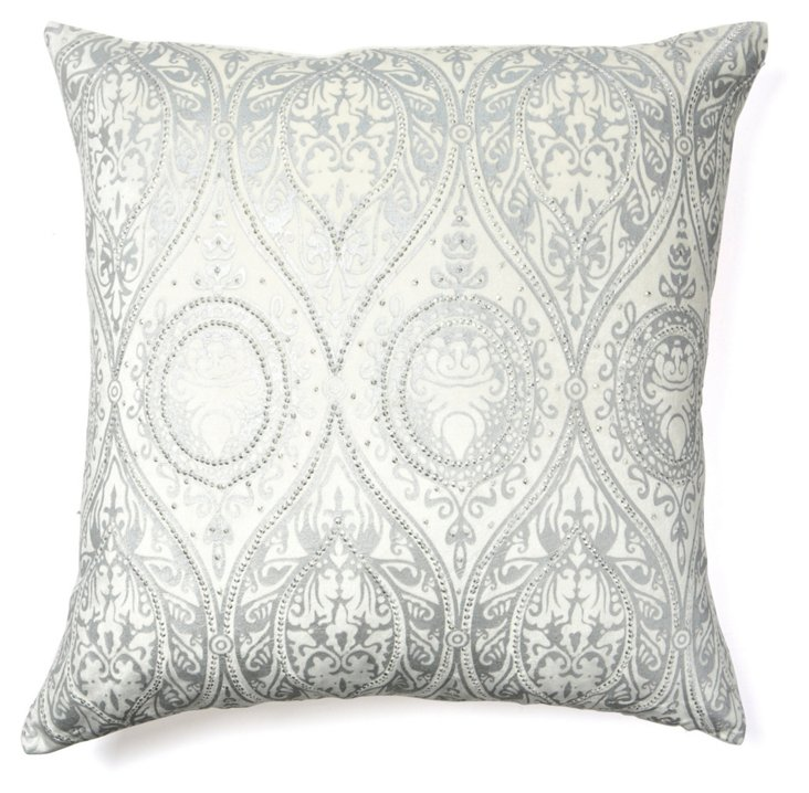 Alina 24x24 Pillow, Ivory/Silver