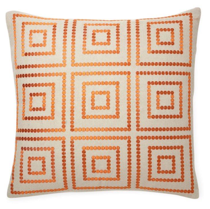 Bold 20x20 Linen-Blend Pillow, Orange