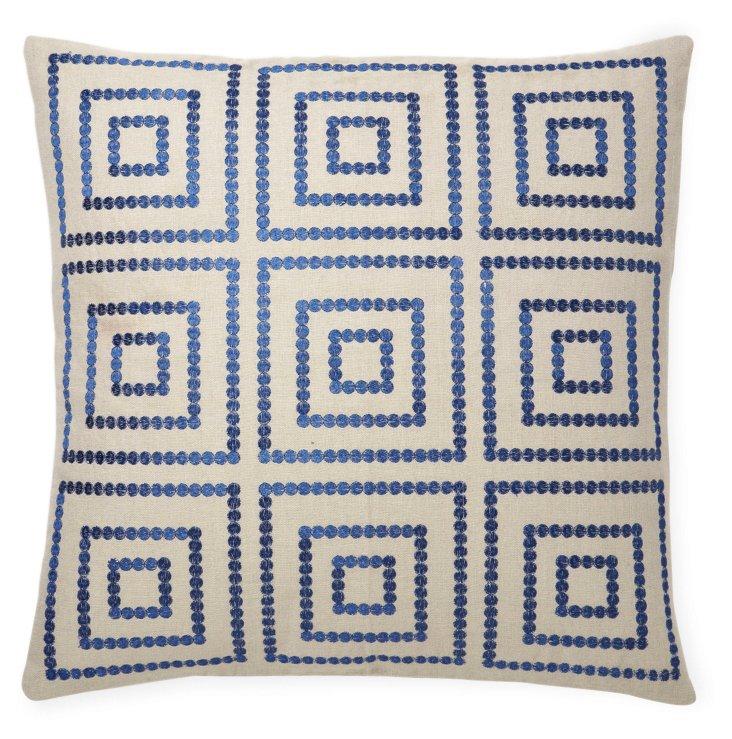 Bindi 20x20 Embroidered Pillow, Blue