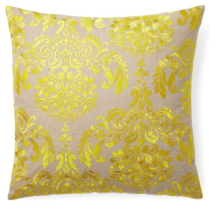 Damask 22x22 Embroidered Pillow, Yellow