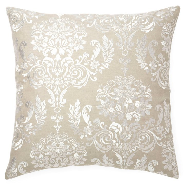 Damask 22x22 Embroidered Pillow, Ivory