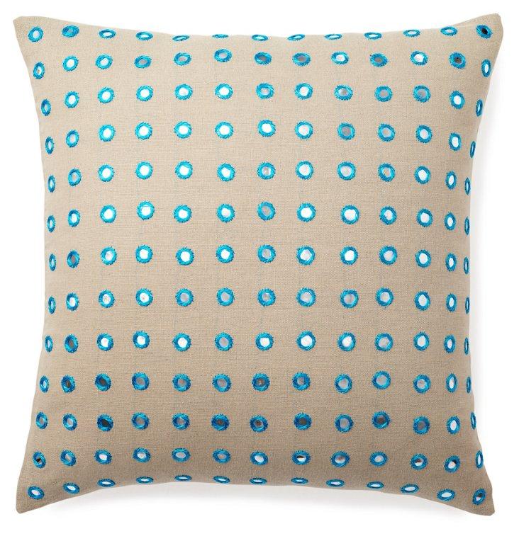 Mirrored 20x20 Linen-Blend Pillow, Taupe
