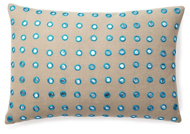 Mirrored 14x20 Linen-Blend Pillow, Taupe